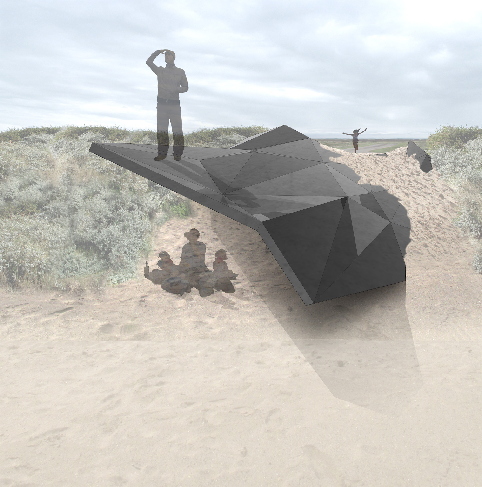 The  Stranded  art installation, slowly eroding within the shifting sand dunes of the Lincolnshire coast