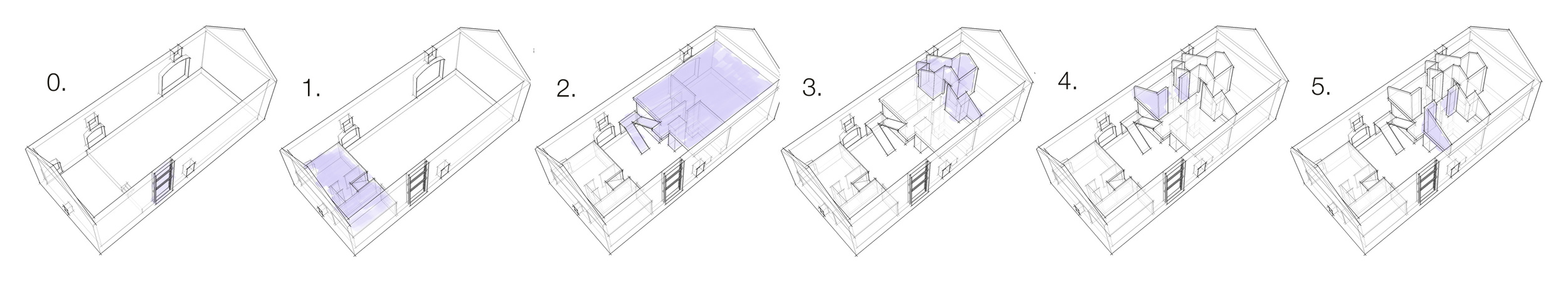 The different stages of the construction, each inhabitable and addressing the specific needs of the growing family (click to enlarge).