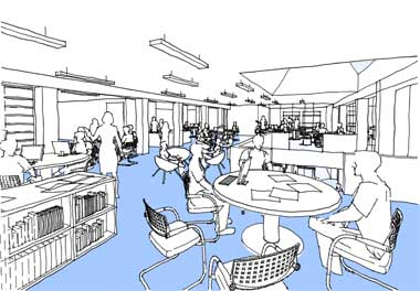 We sketched extensive and detailed views of the proposed teaching spaces to communicate design ideas to the client and the other members of the team