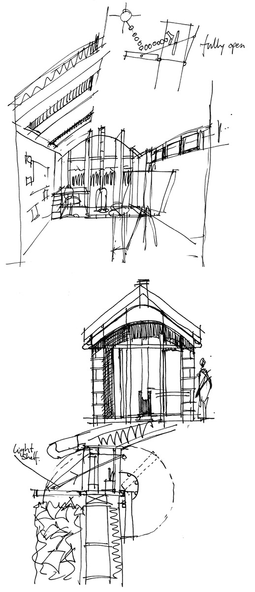 Sketches were an essential communication tool throughout the design process, from the early briefing with our client to the discussion of construction details on site with the builders