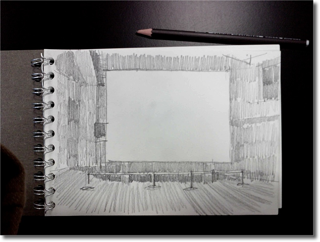 A pencil sketch in the darkness of the projection room, in which I tried to distinguish between shades of darkness around the screen and then capture that.