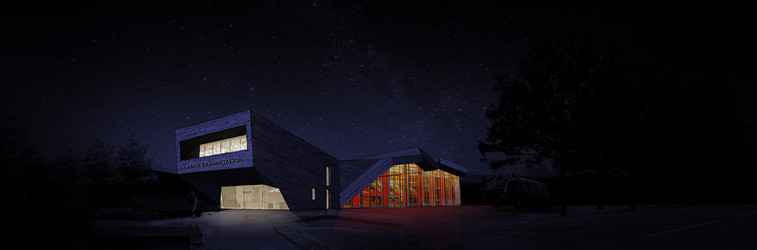 Concept design visualisation of our future fire station in Såner, Norway, with its public facing core building and connected modular fire engine halls at the back.