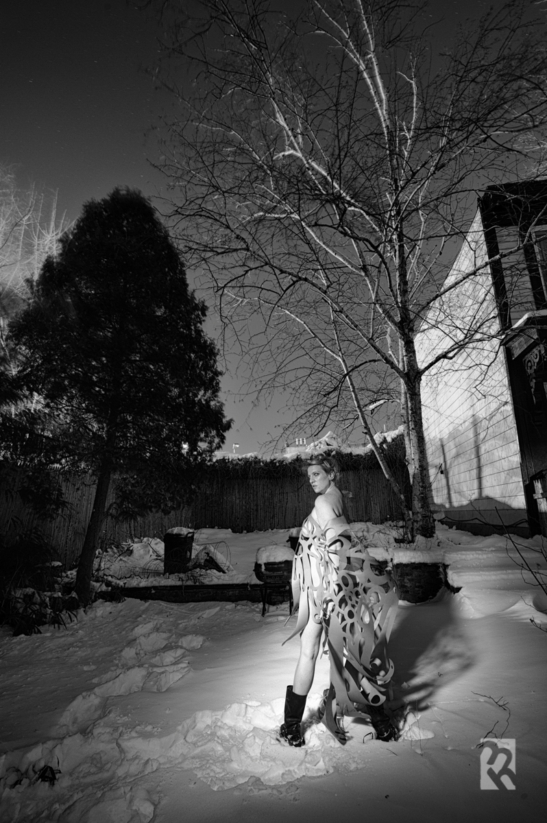 Digital exposure on Nikon D700 + 14-24mm f/2.8 / 1 min at f/8 with primary tripod  Model: Heather Whatever. © Matt Hill from   NIGHT PAPER  series