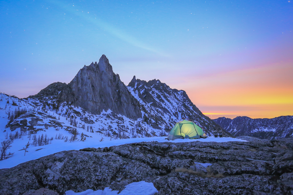 A popular subject to use when backpacking is your tent. Use of a dim headlamp or other   artificial light can give the tent a warm glow to your shot. Settings: 30 secs, f/2.8,   ISO3200.    But, above all, have fun exploring the visuals only the starry night sky can offer!