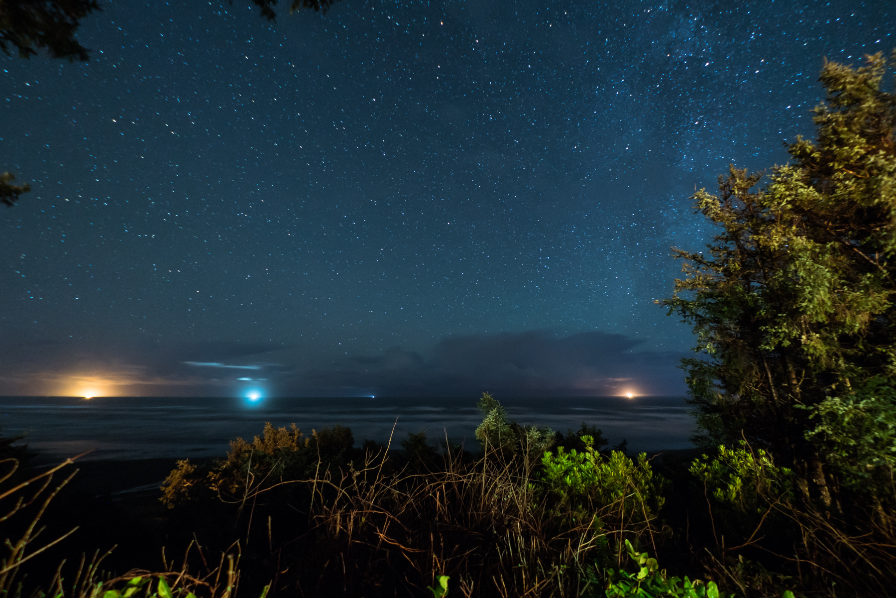 A sky full of stars off of Washington's Pacific coastline.