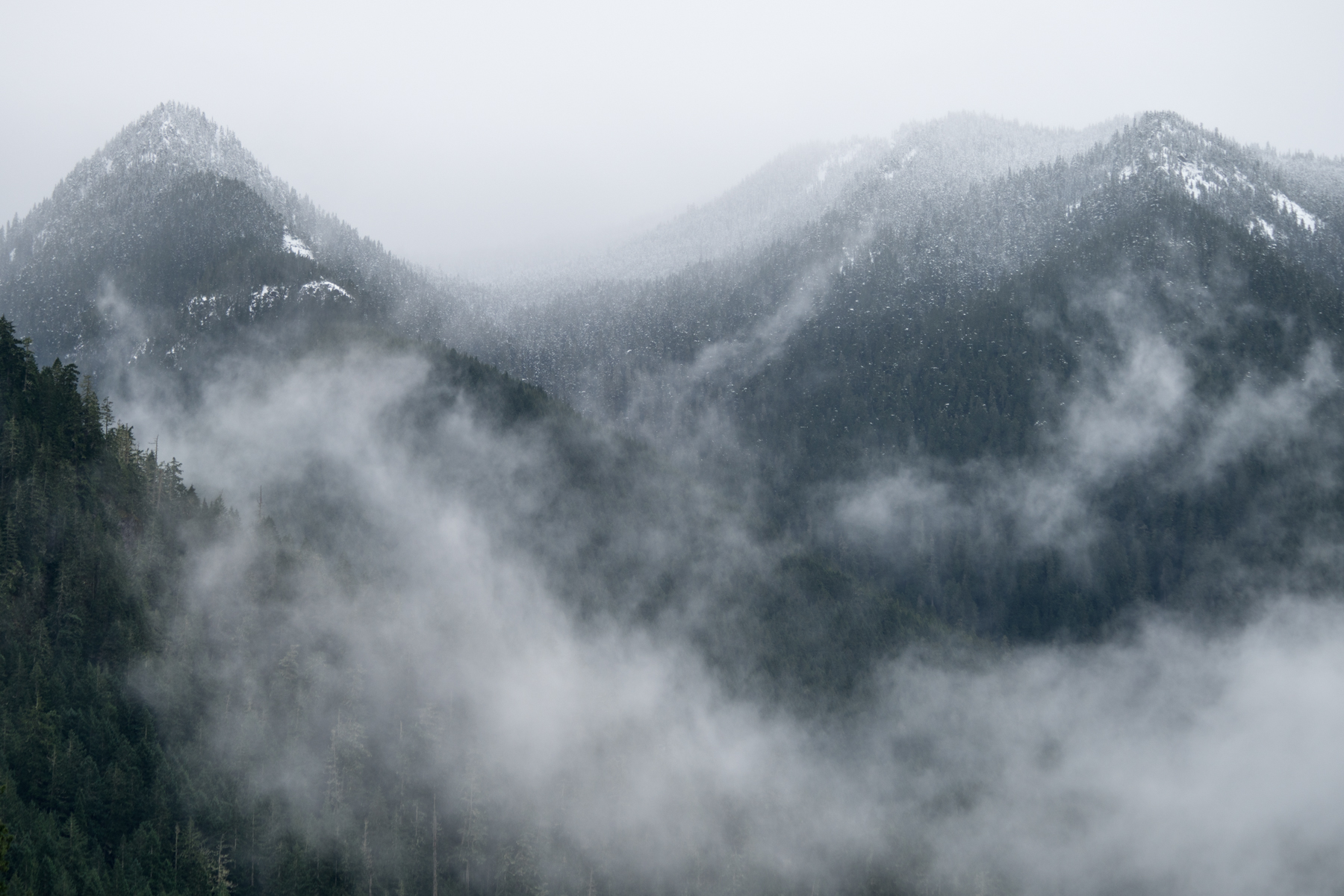 Moody weather above Lake Crescent, Olympic Peninsula.