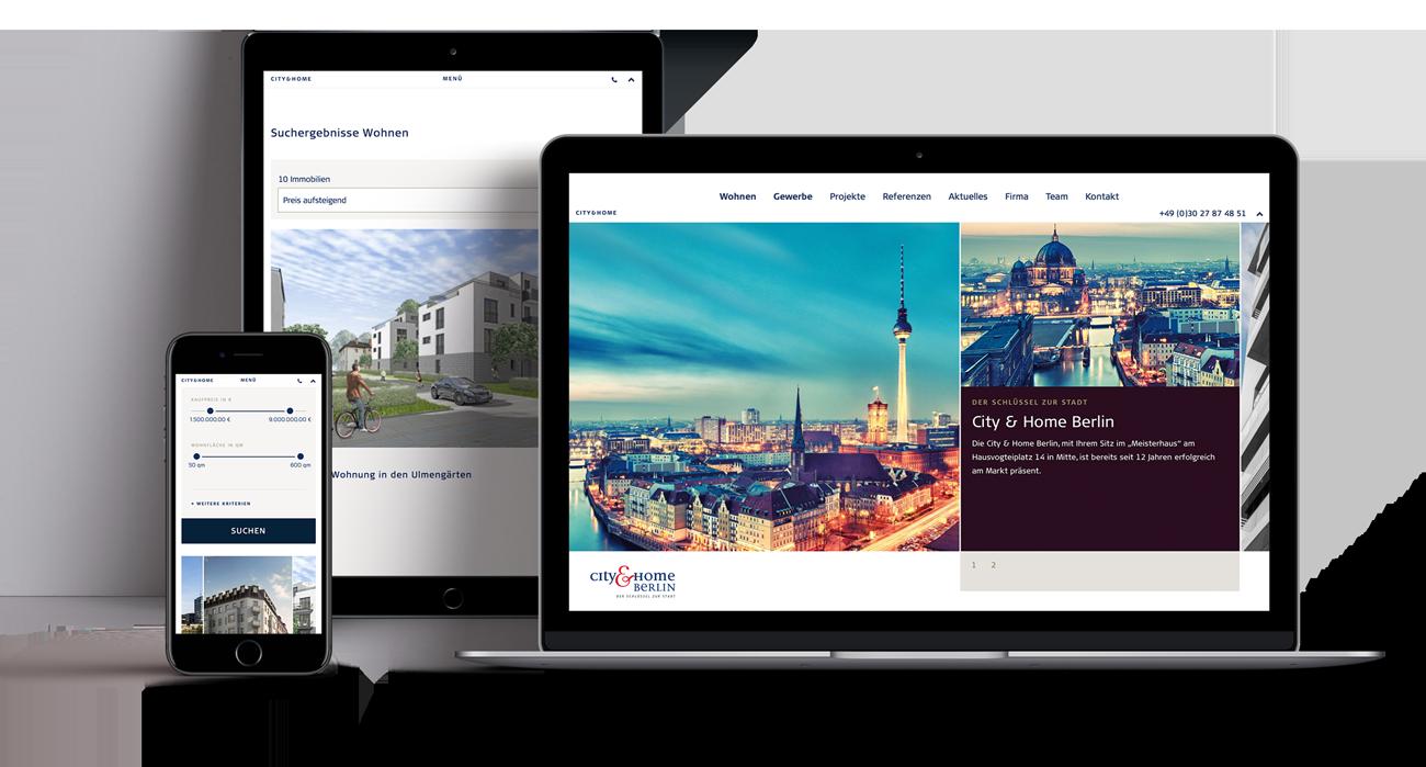 City & Home  responsive portfolio for a real estate agency