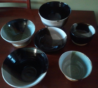 6 Black and White Bowls