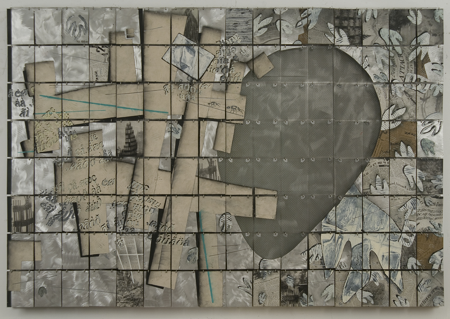 "Time Shell     2001  Canvas, paper, Alkyd, and Hooks on Aluminum  67"" x 96"" x 4""   (H-6)   Private Collection, Israel"