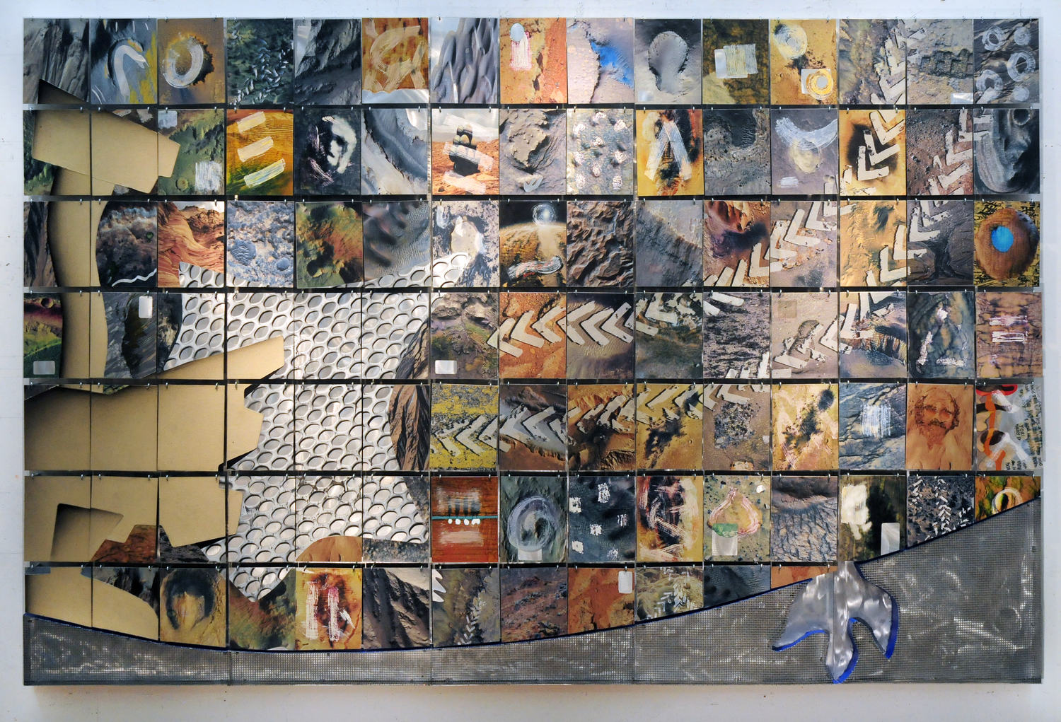 "Tribute to Curiosity    2012  Wire Mesh, Canvas, Paper, Alkyd, and Hooks on Aluminum  72"" x 110""  (H-160)  NASA Collection"