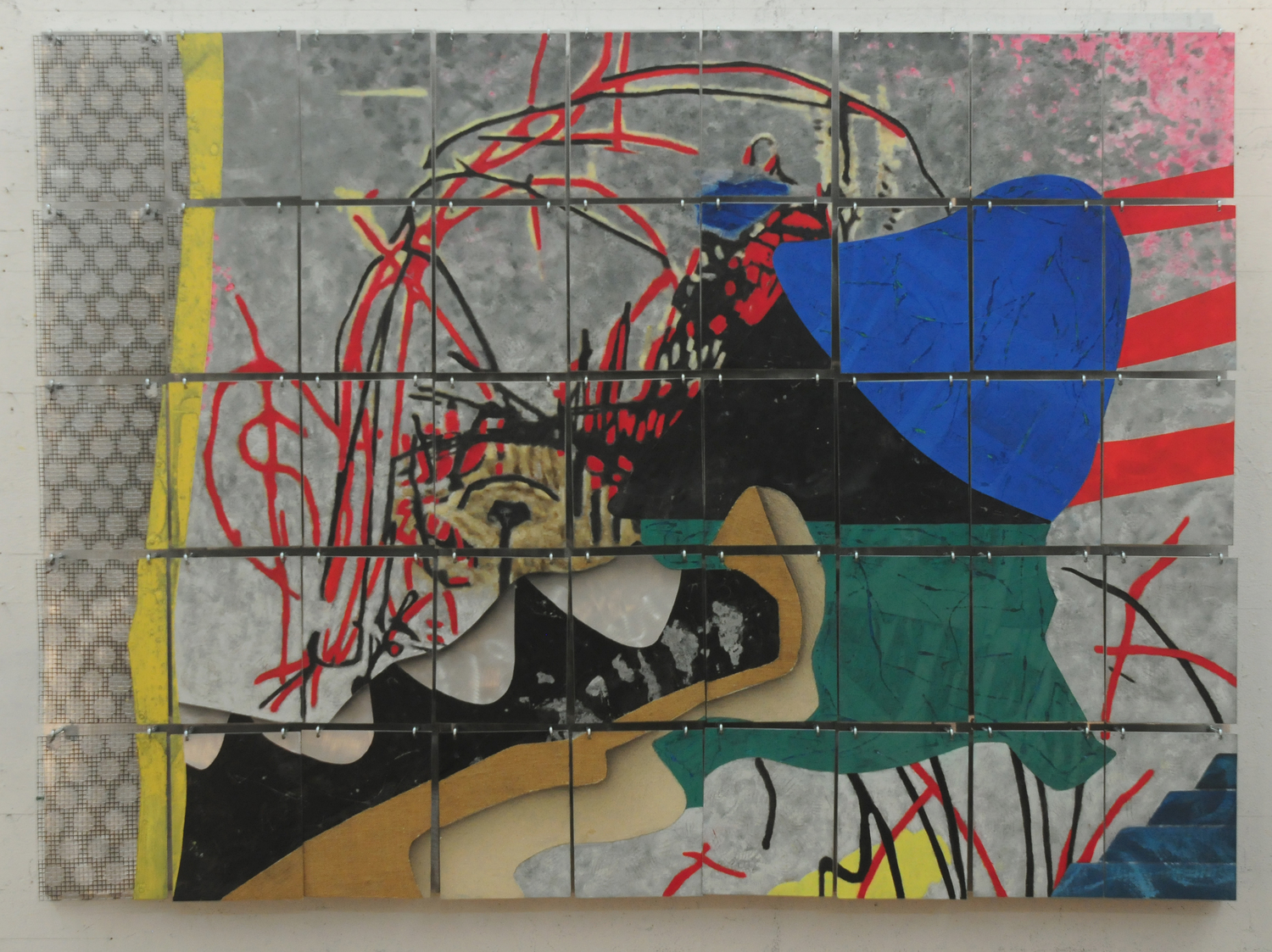 "Get Lost    2013   Paper, Canvas, Alkyd, and Hooks on Aluminum  48"" x 66""  (H-168)"