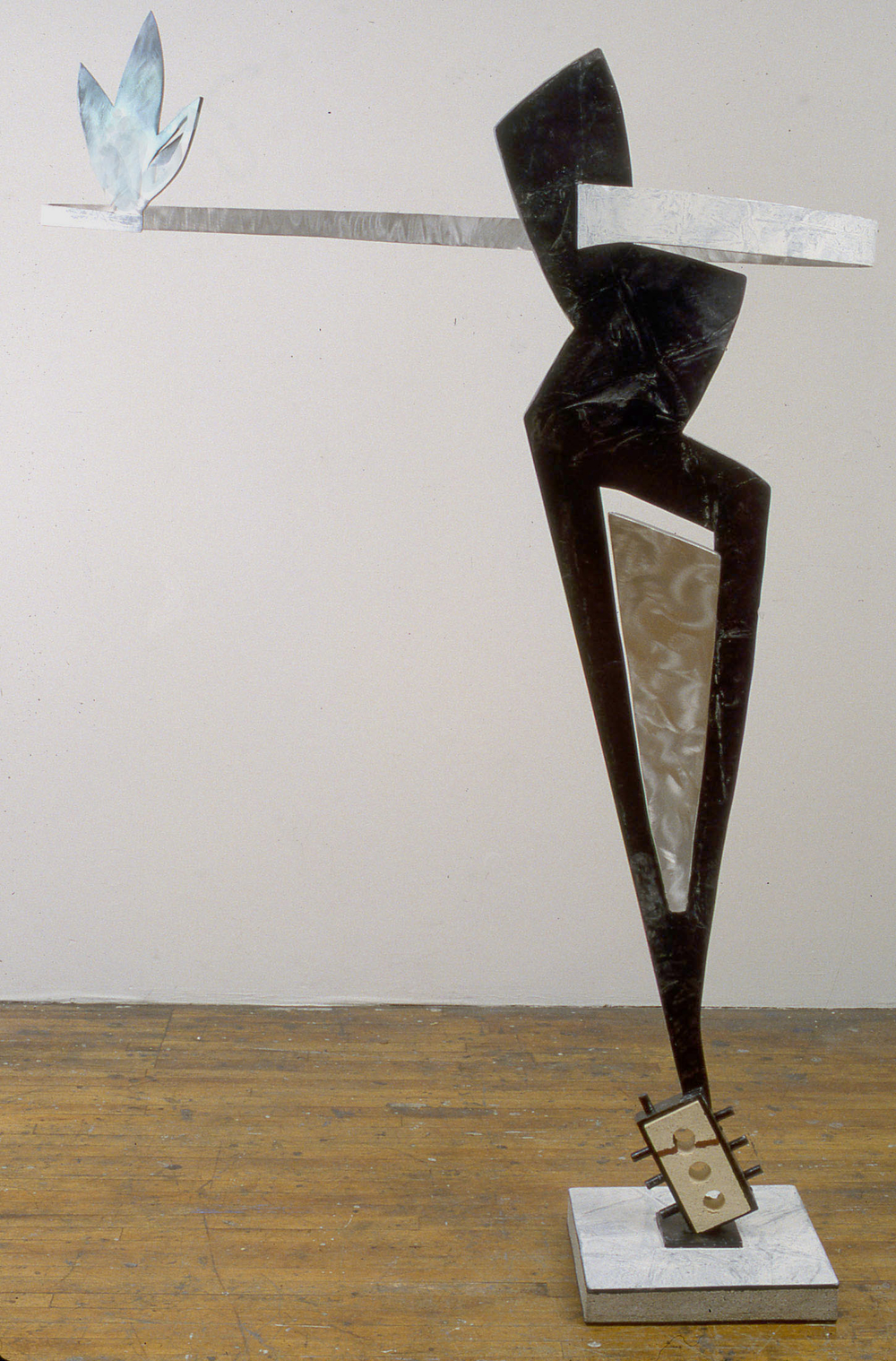 "To Reach a Brick     1998   Acrylic Urethane, Aluminum, Brick, and Concrete  78"" x 50"" x 17""  (D-204)"