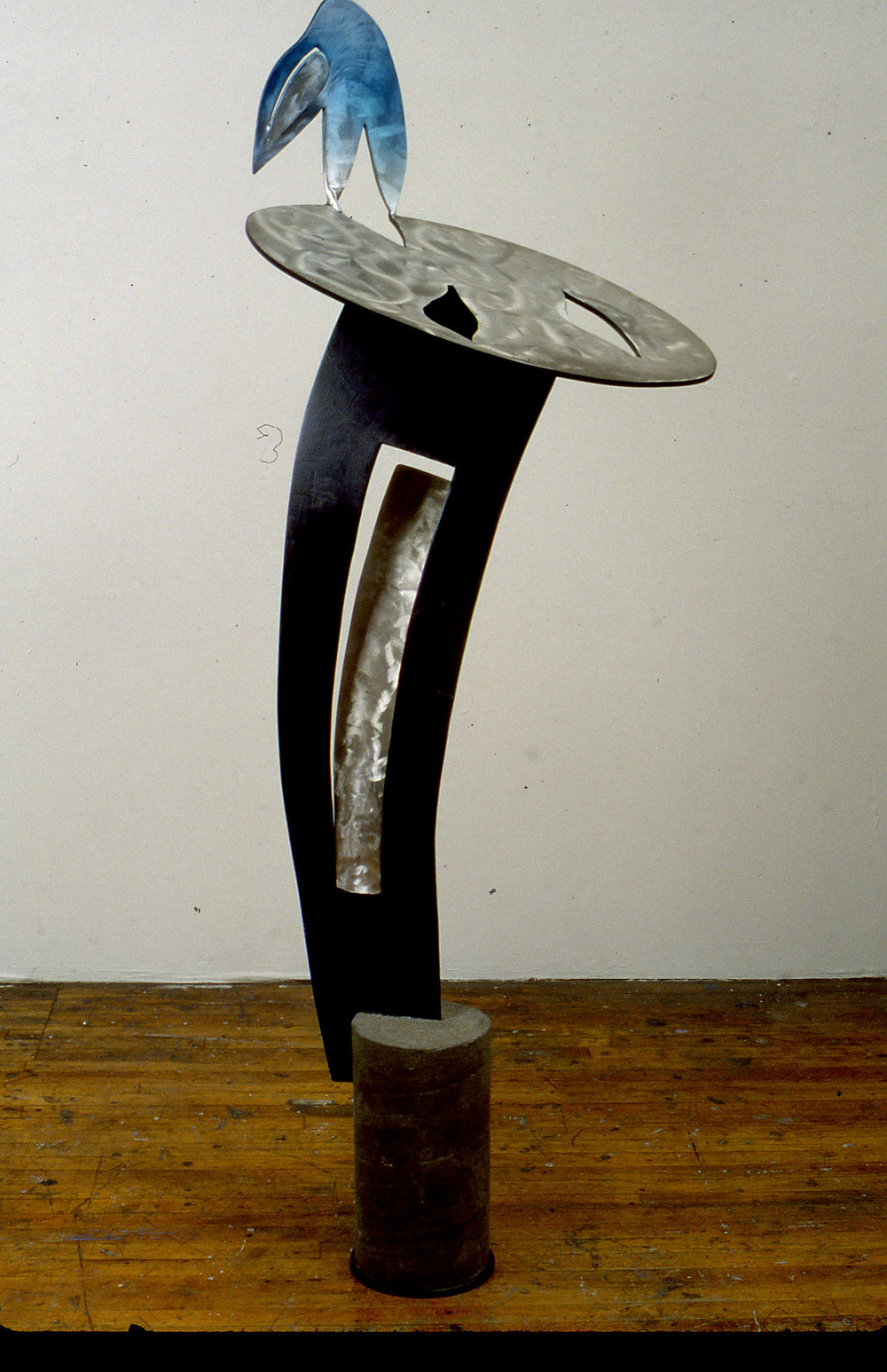 "Landmark Edge     1998   Aluminum, Concrete, and Acrylic Urethane  73"" x 21"" x 28""  (D-205)"