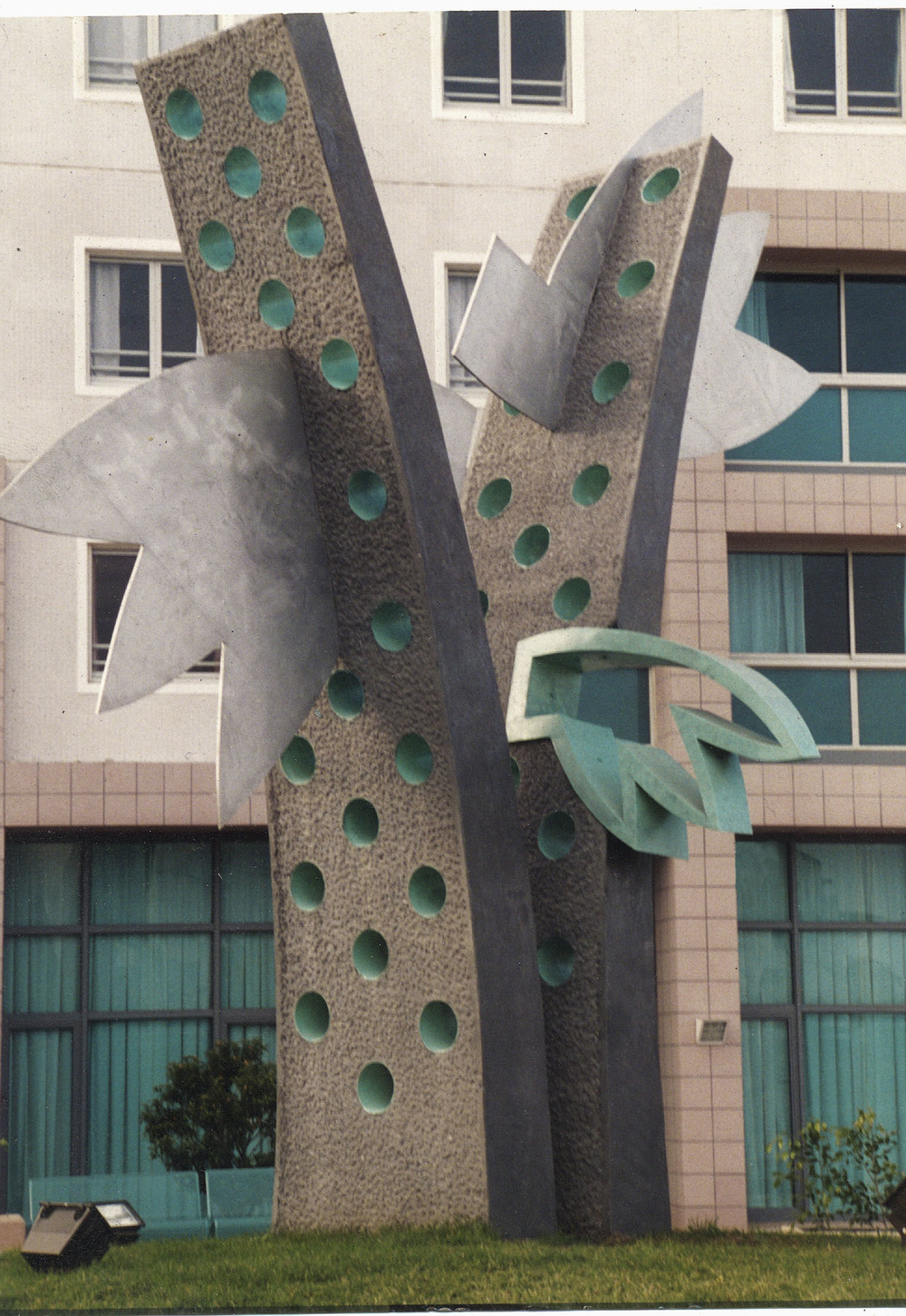 "Note in the Green     1994  Aluminum, Bronze, and Concrete  264"" x 240"" x 96""   (D-172)  Mishan Collection in Tel Aviv, Israel"