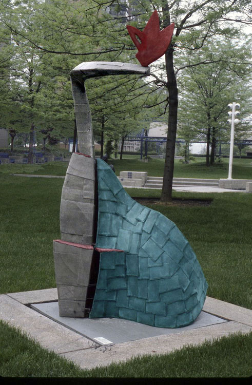"Ok Tail     1996  Concrete, Cooper, and Stainless Steel Mesh  92"" x 50"" x 54""  (D-174)  The Hebrew Home at Riverdale in New York"