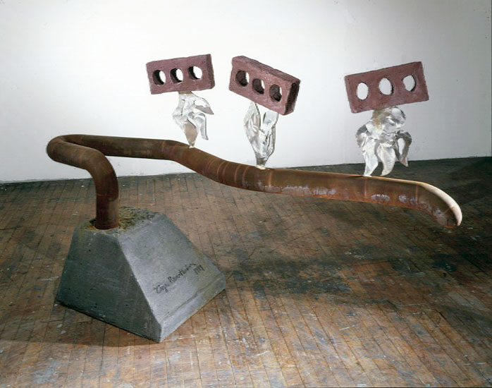 "Marching Ants    1997  Bricks, Concrete, and Stainless Steel  25"" x 33"" x 18""  (D-178)  Private Collection"