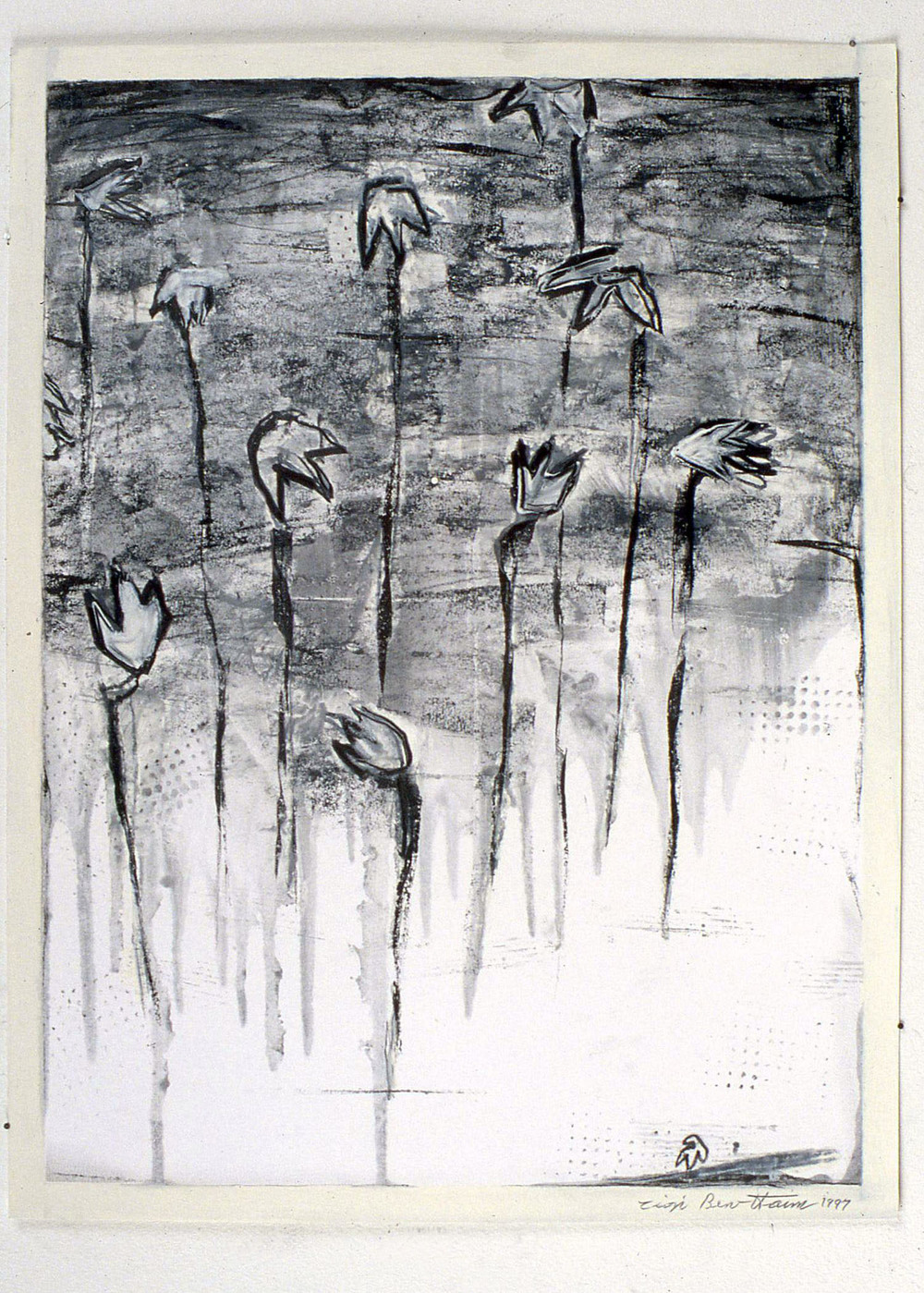 "Untitled    1996   Alkyd and graphite on paper  10"" x 24""  (C-506)"