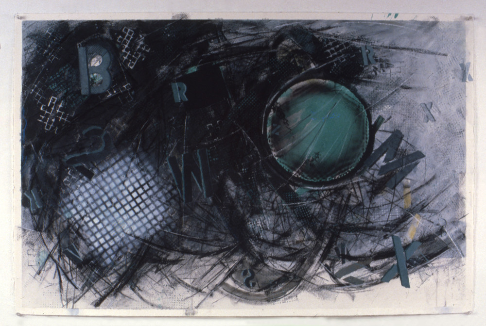 "Untitled from Monadnock series    1990   Graphic, pastel, pigments, and latex on paper  47.5"" x 31.5""  (C-235)"