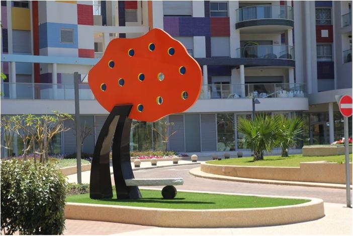 "PoeTree , President  2011   Aluminum, Stone and Eboxy Paint,18'' x 108"" x 55""  Tel-Aviv, Israel"