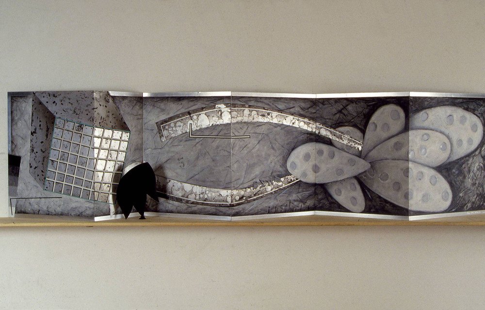 "Mechanical Organism    1992  Oil and Graphite on Aluminum  24"" x 103"" x 10""  (AL-126)"