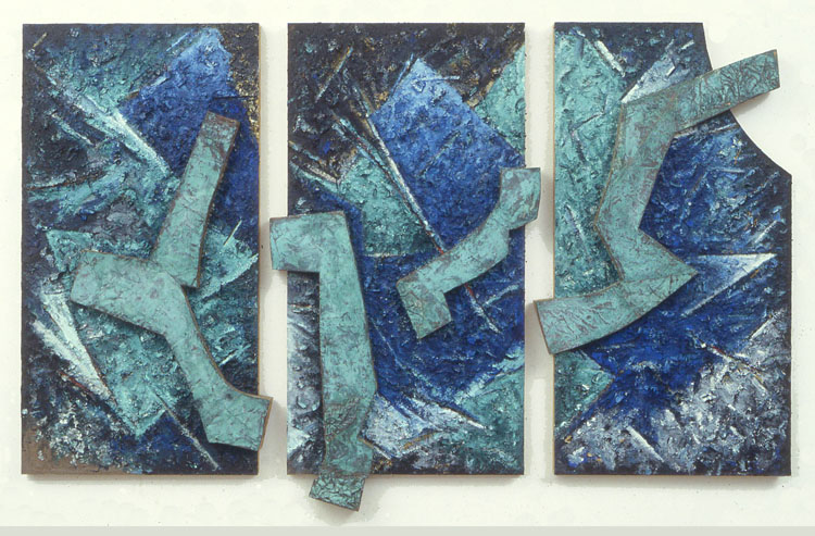 "Dancing Sky    1985  Acrylic and Oxidized Cooper on Wood  60"" x 102"" x 5""  (L-39)"