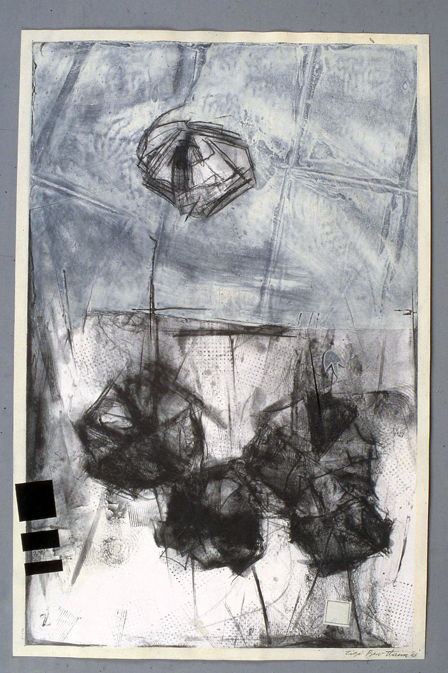 Untitled    1996   Alkyd and Graph on Paper, 26'' x 44''
