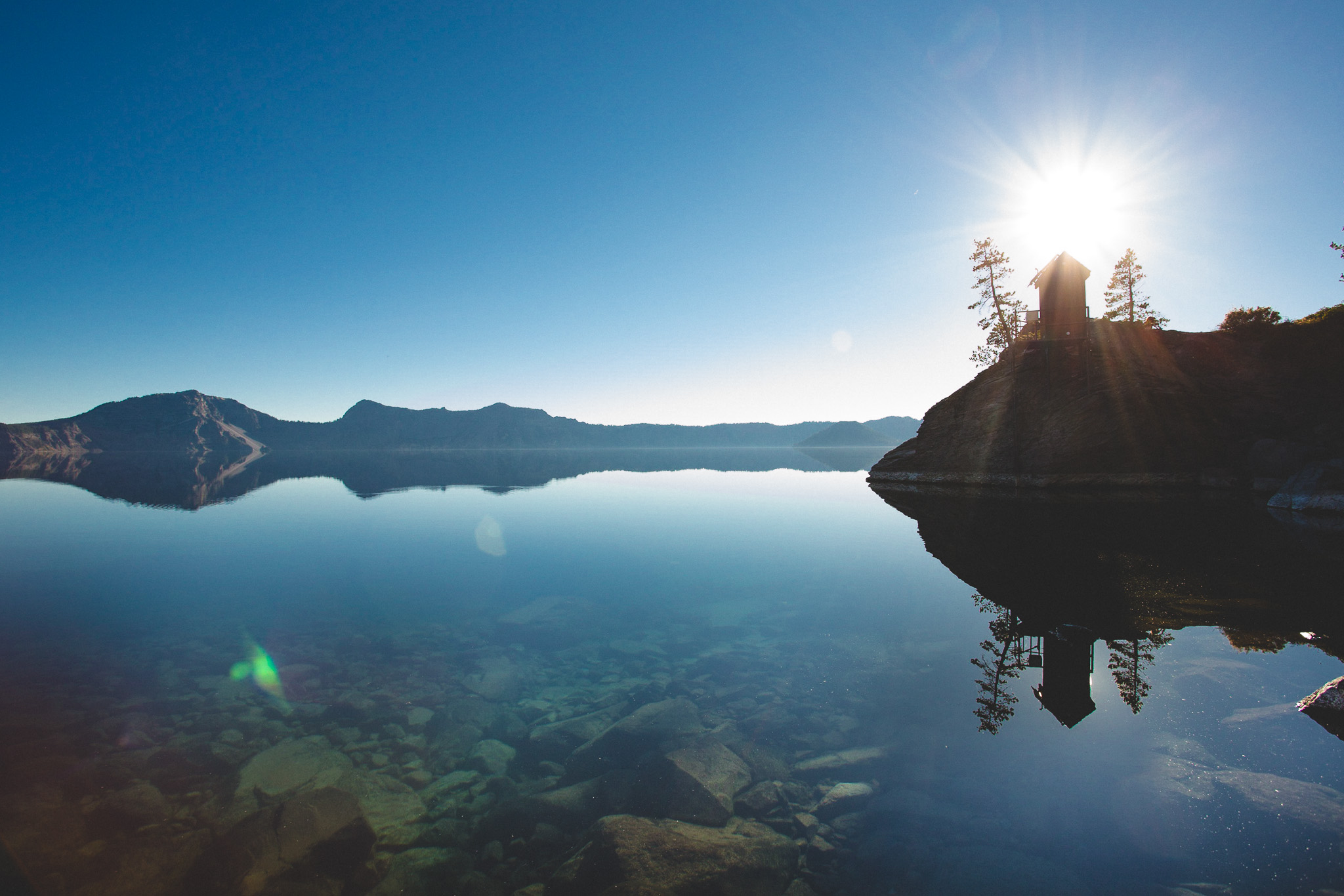 Reflection in crater lake