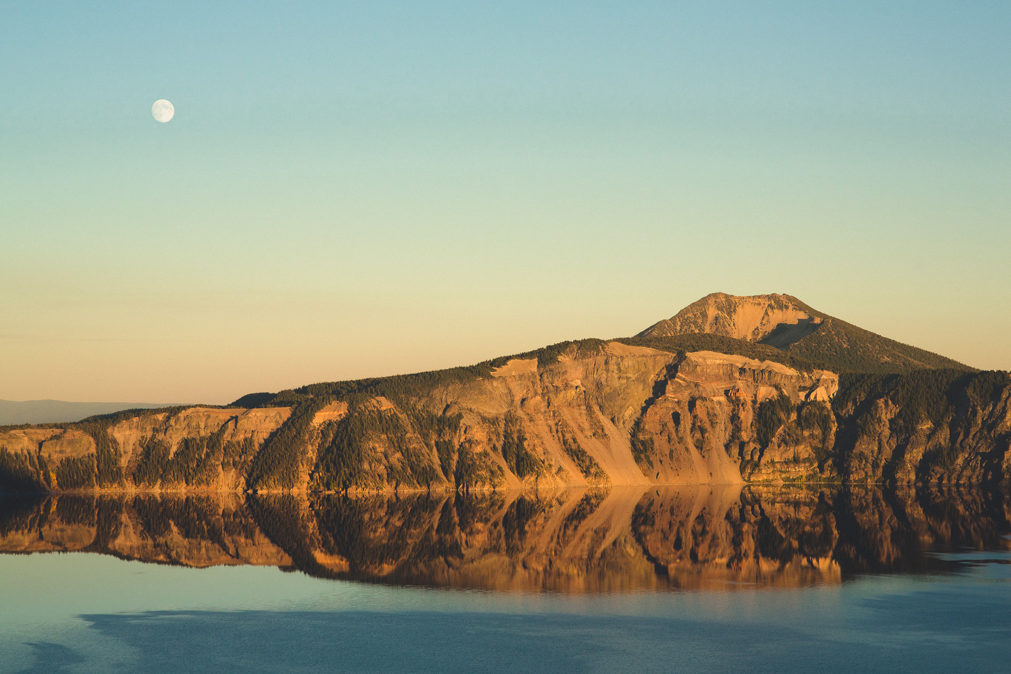 moon over crater lake
