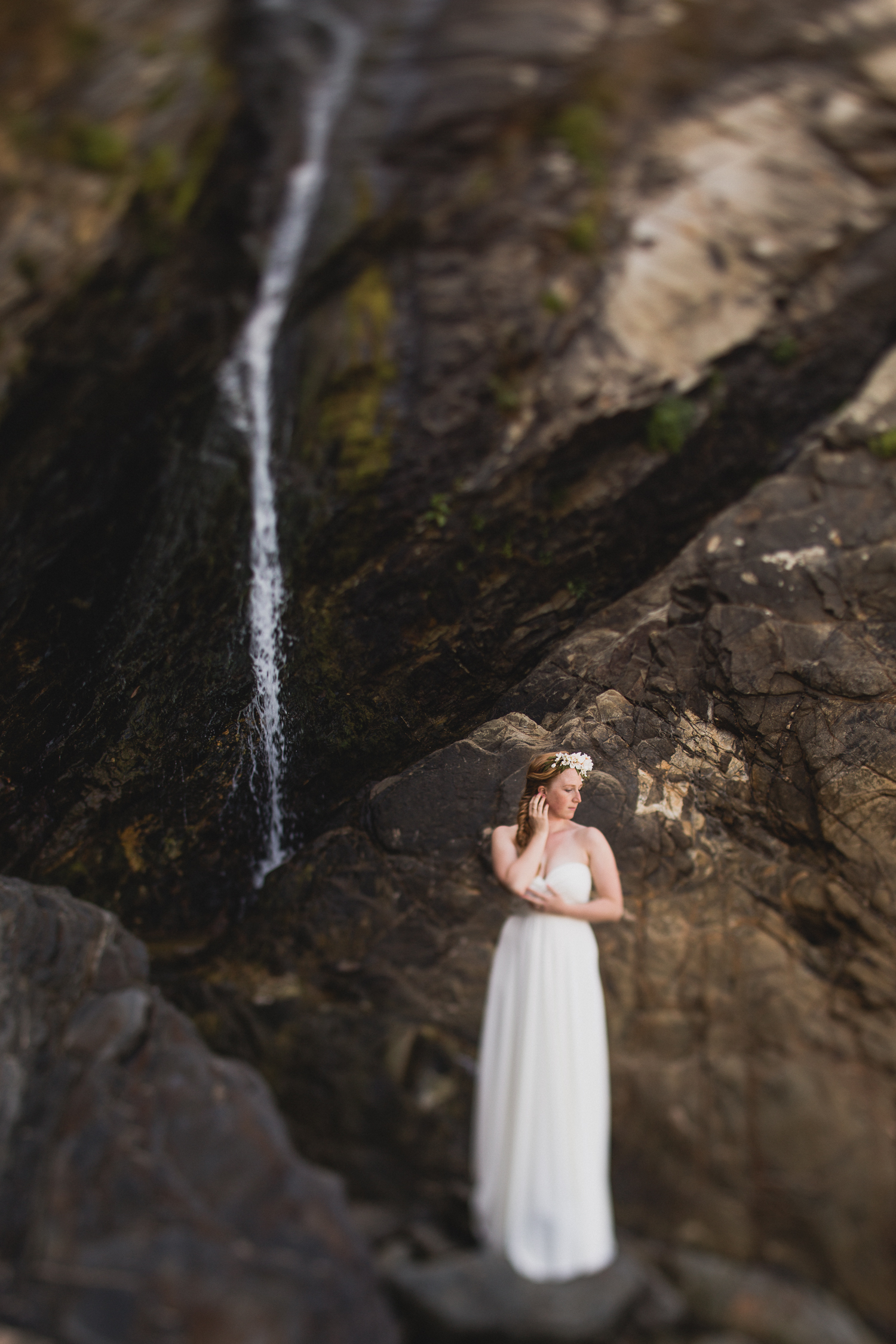 European destination wedding photographer waterfall portrait