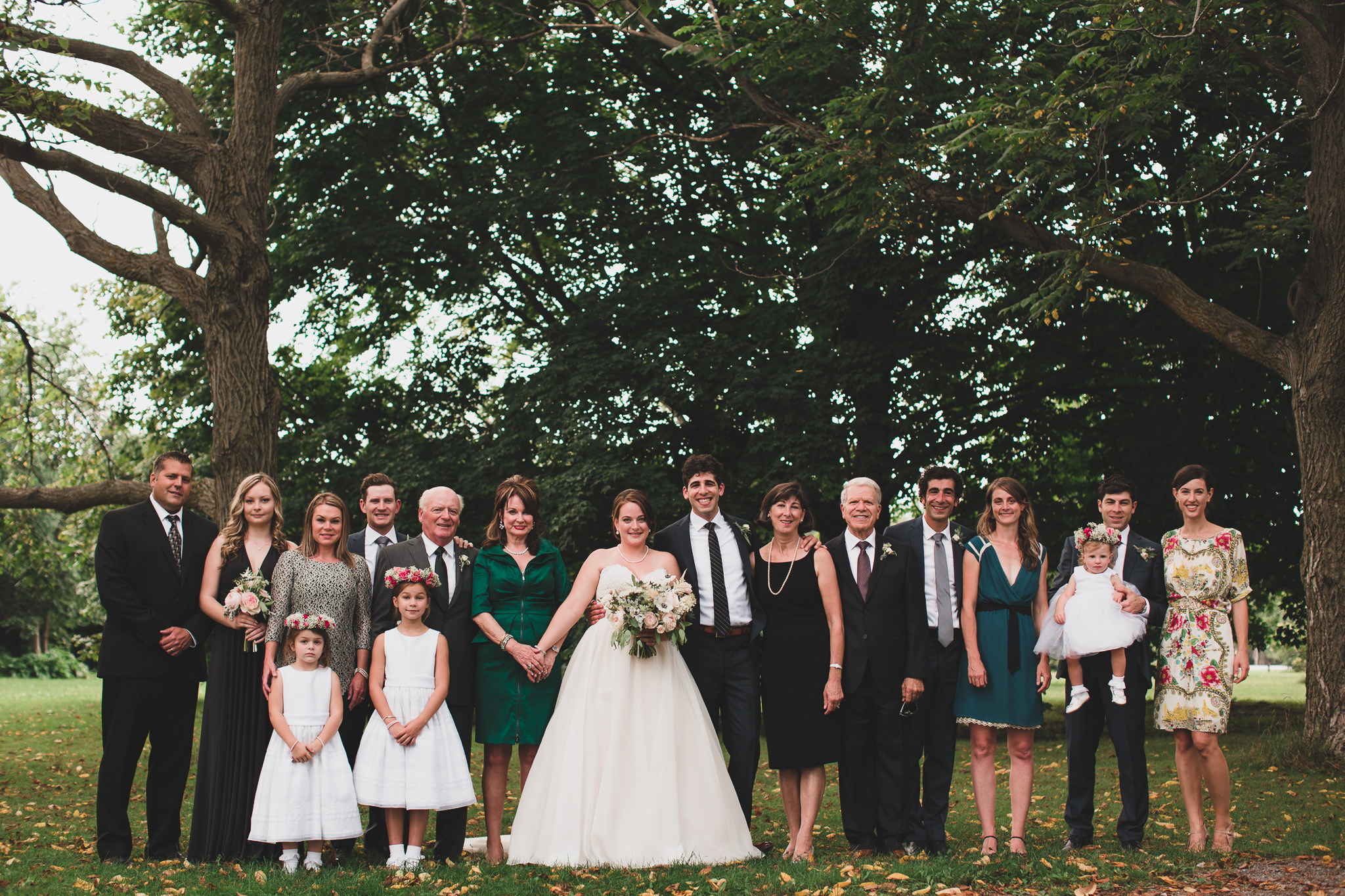 Taking family photos on the wedding day