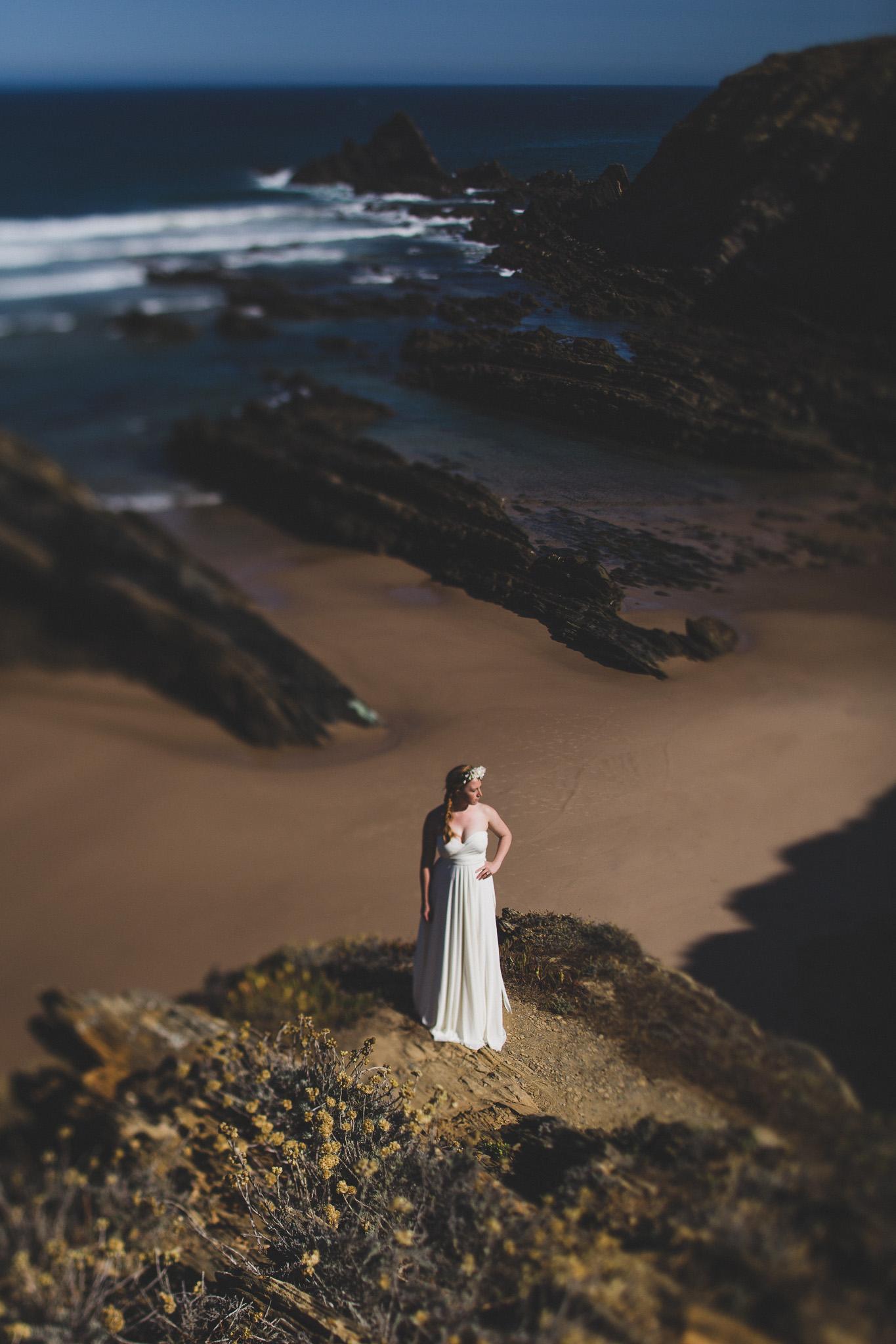Cliffside wedding portrait