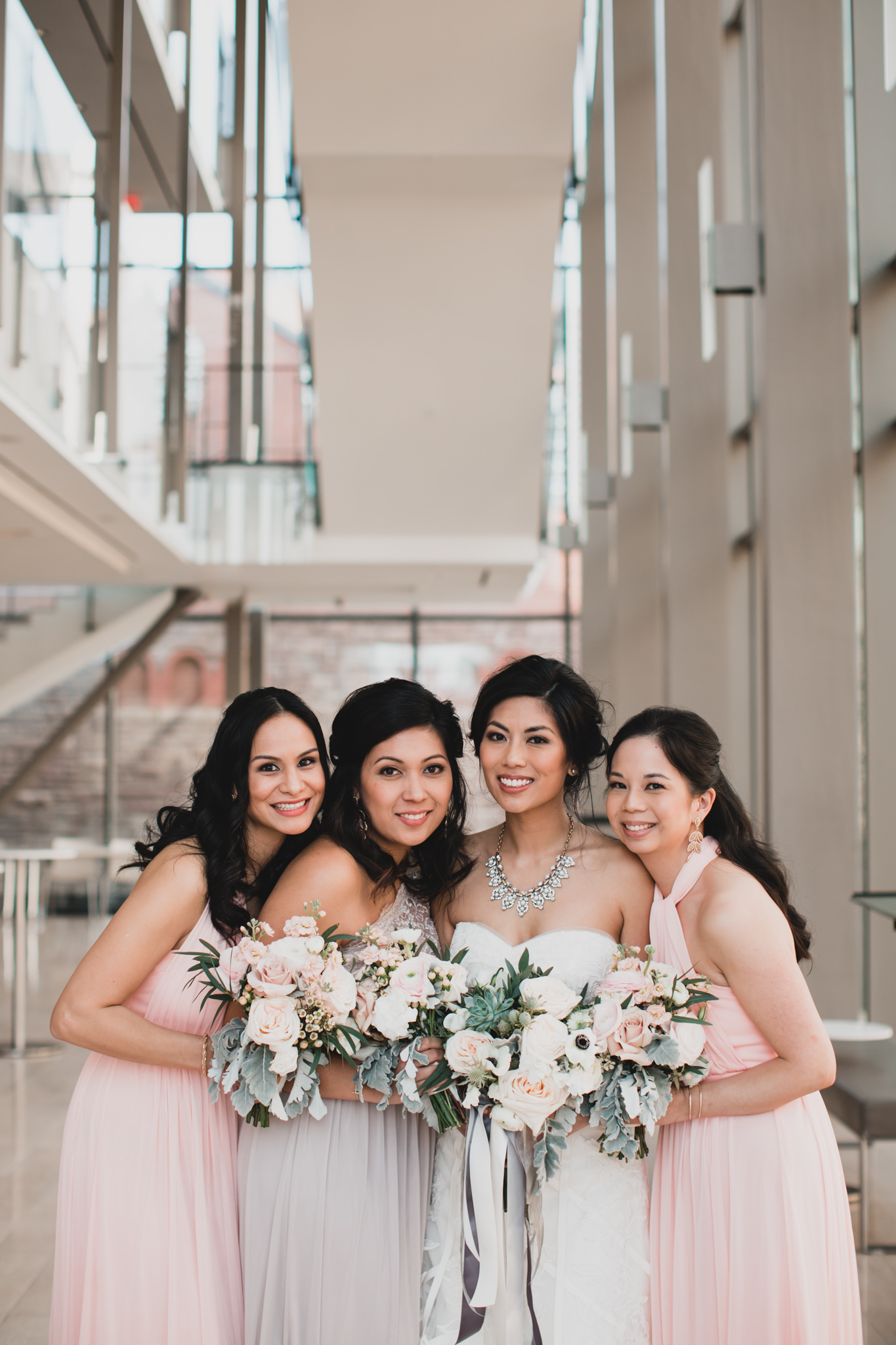Bridesmaids Grey and Pink Colours
