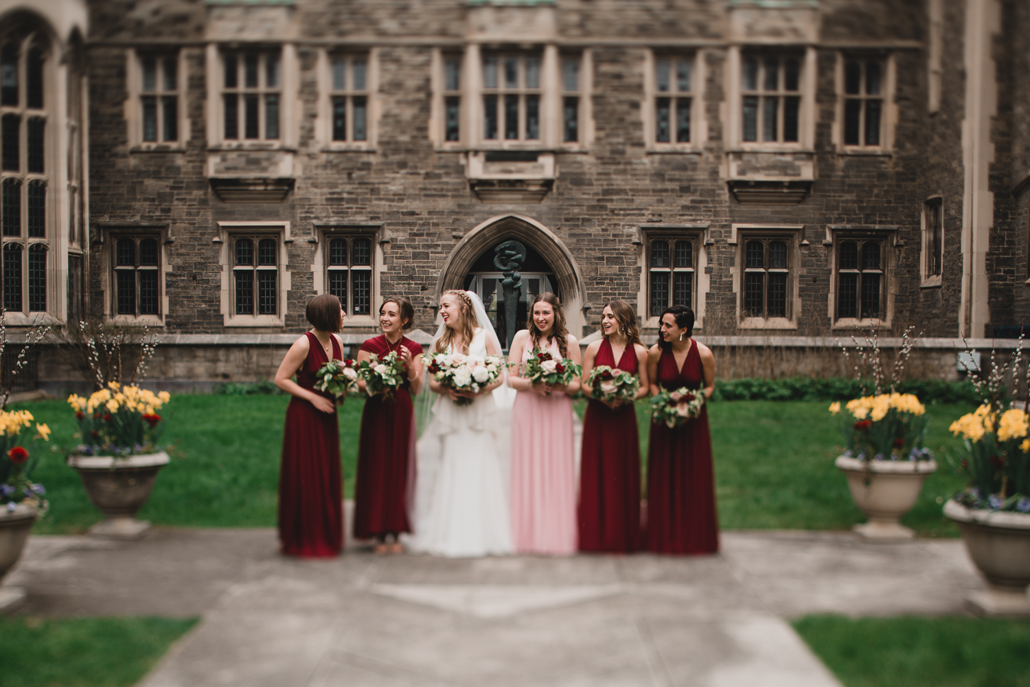 Candid, natural wedding portraits with bridesmaids