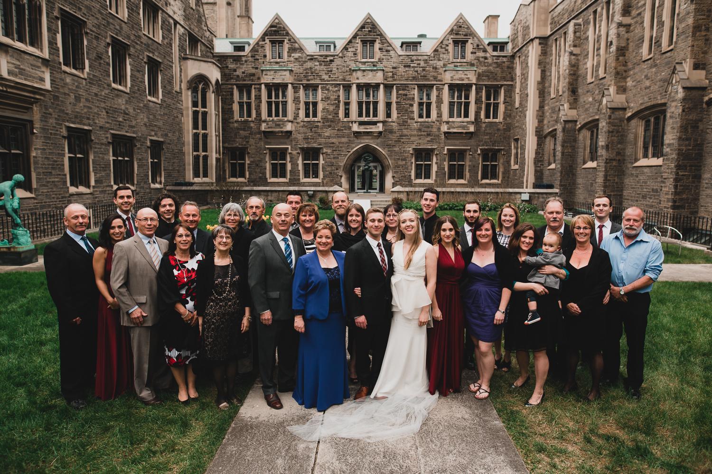Large family photos on wedding day