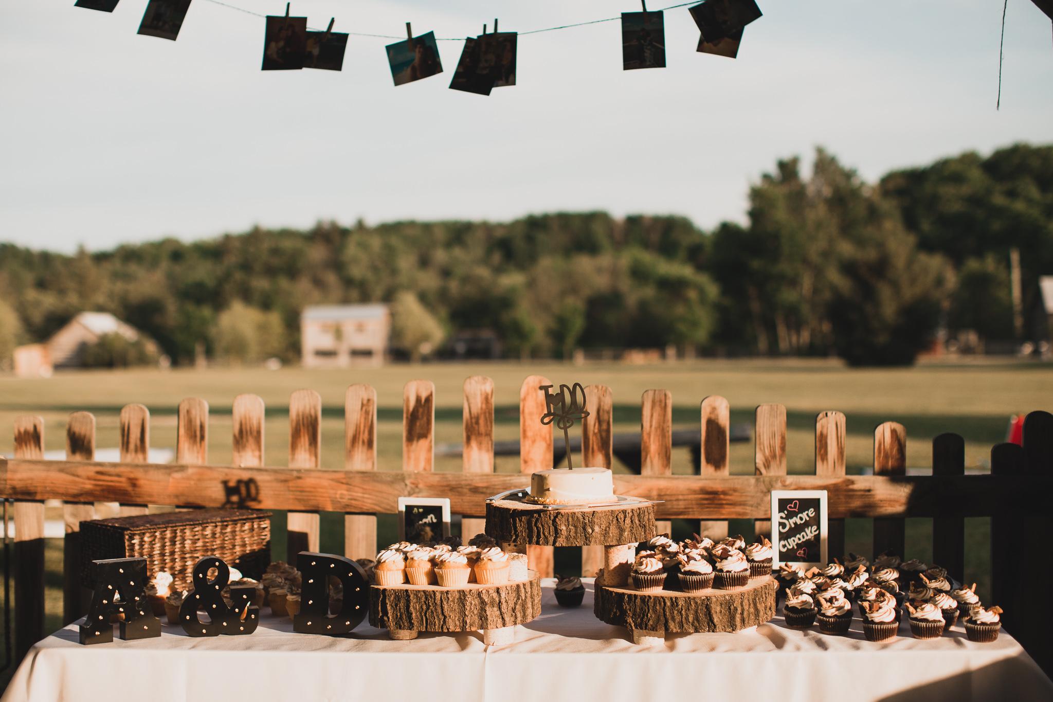 Rustic cupcake table wedding