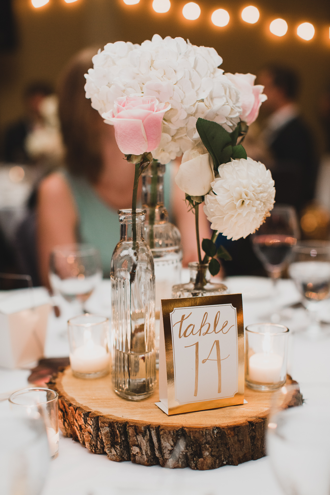 Rustic chic wedding table centerpiece
