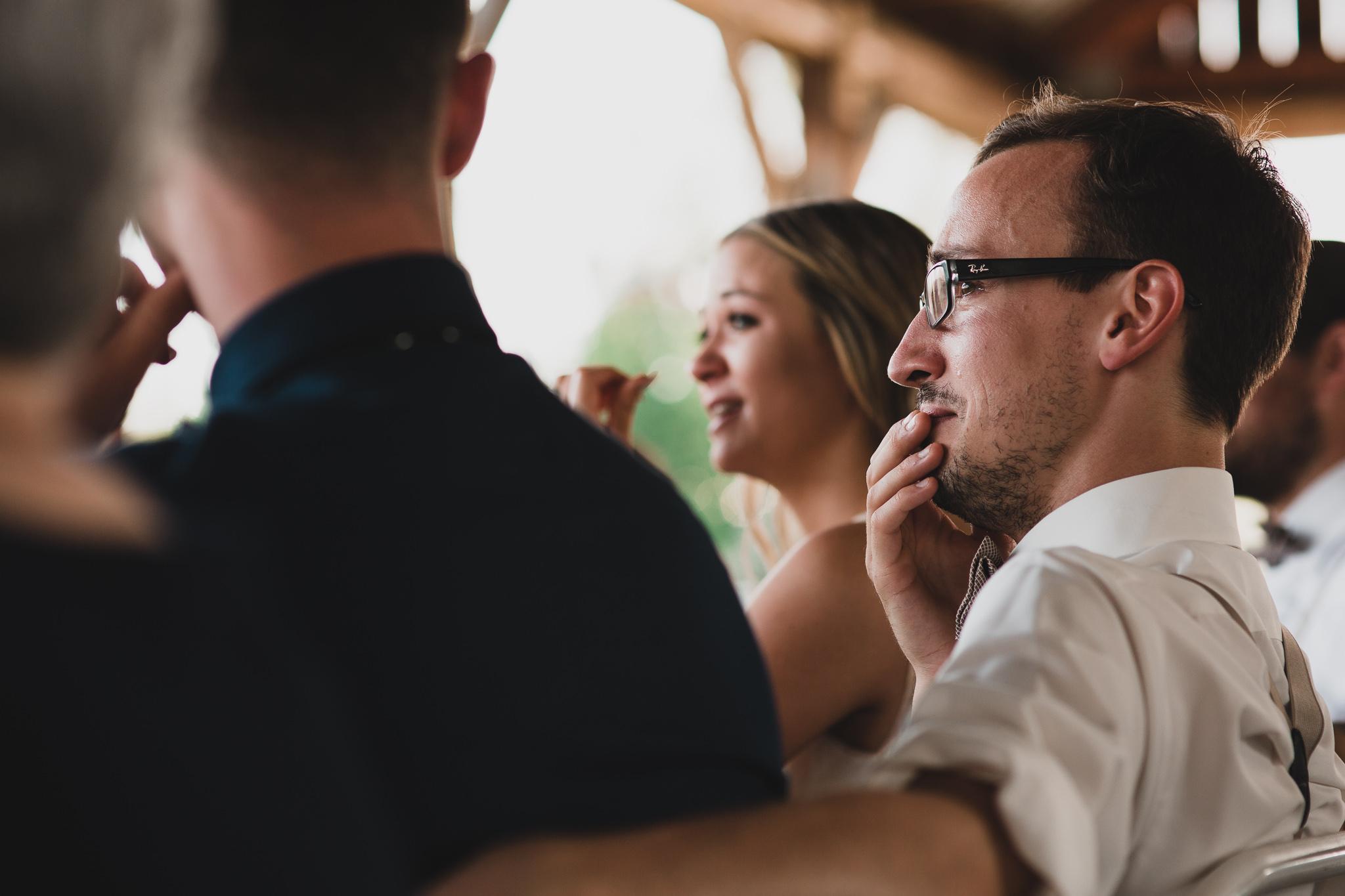 emotional wedding guest candid