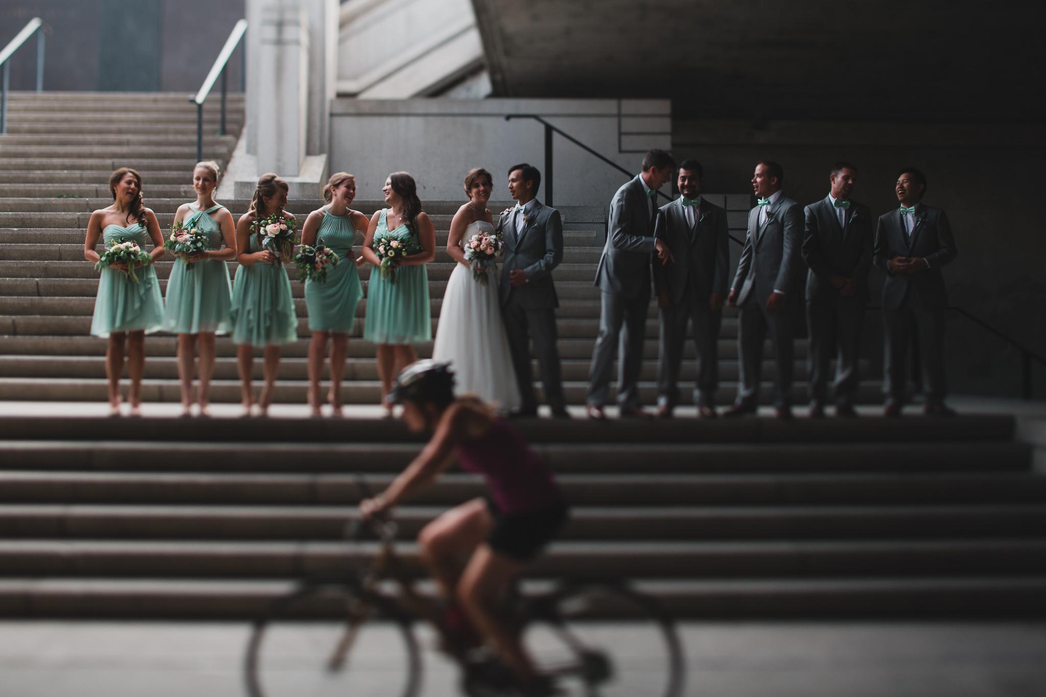 Photobombed wedding party