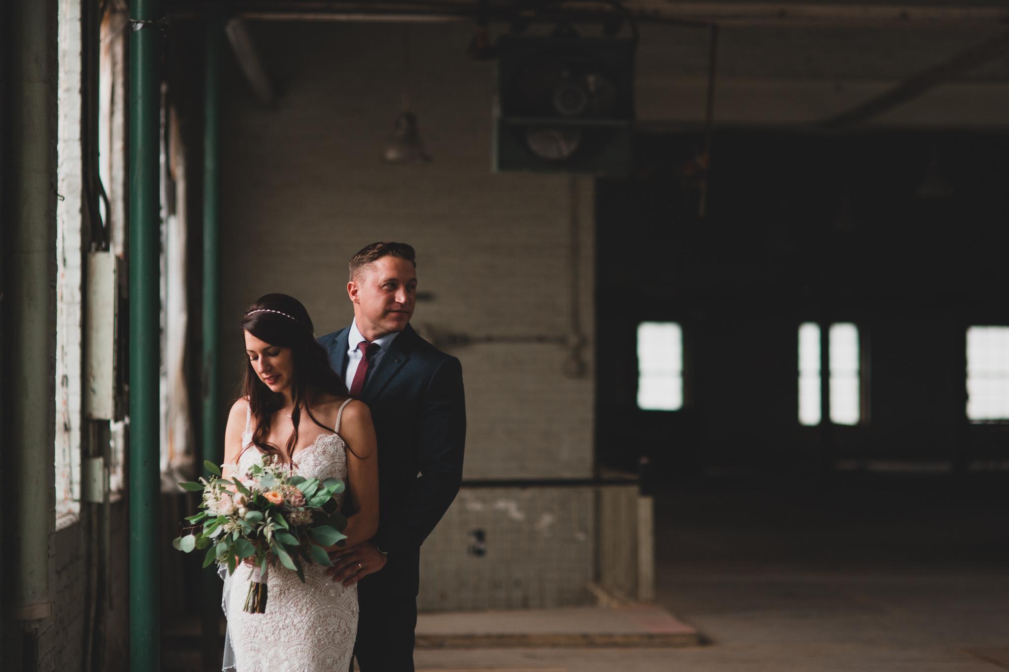 Indoor industrial wedding Jonathan Kuhn Photography