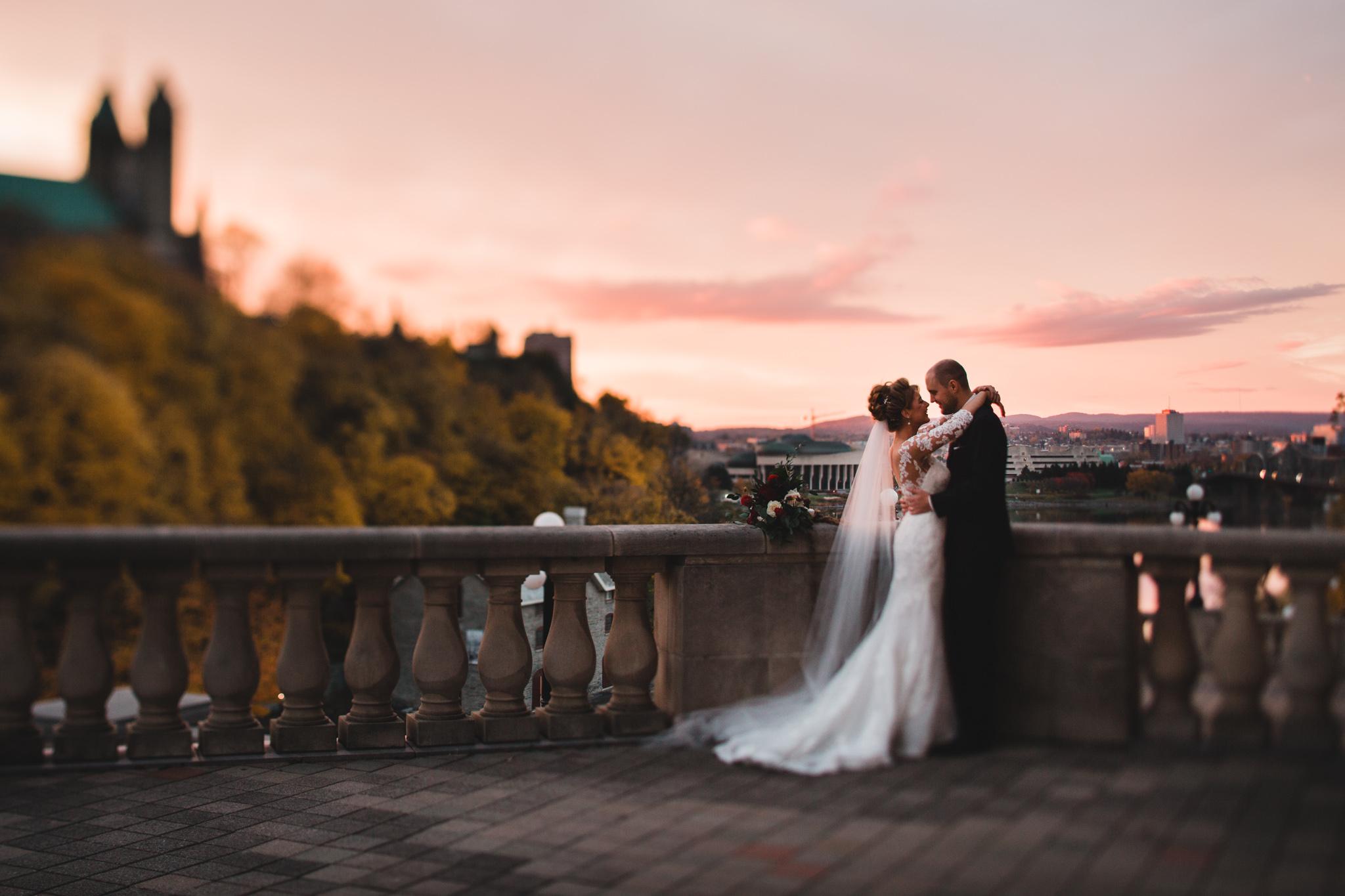 Chateau Laurier Sunset wedding portrait Jonathan Kuhn