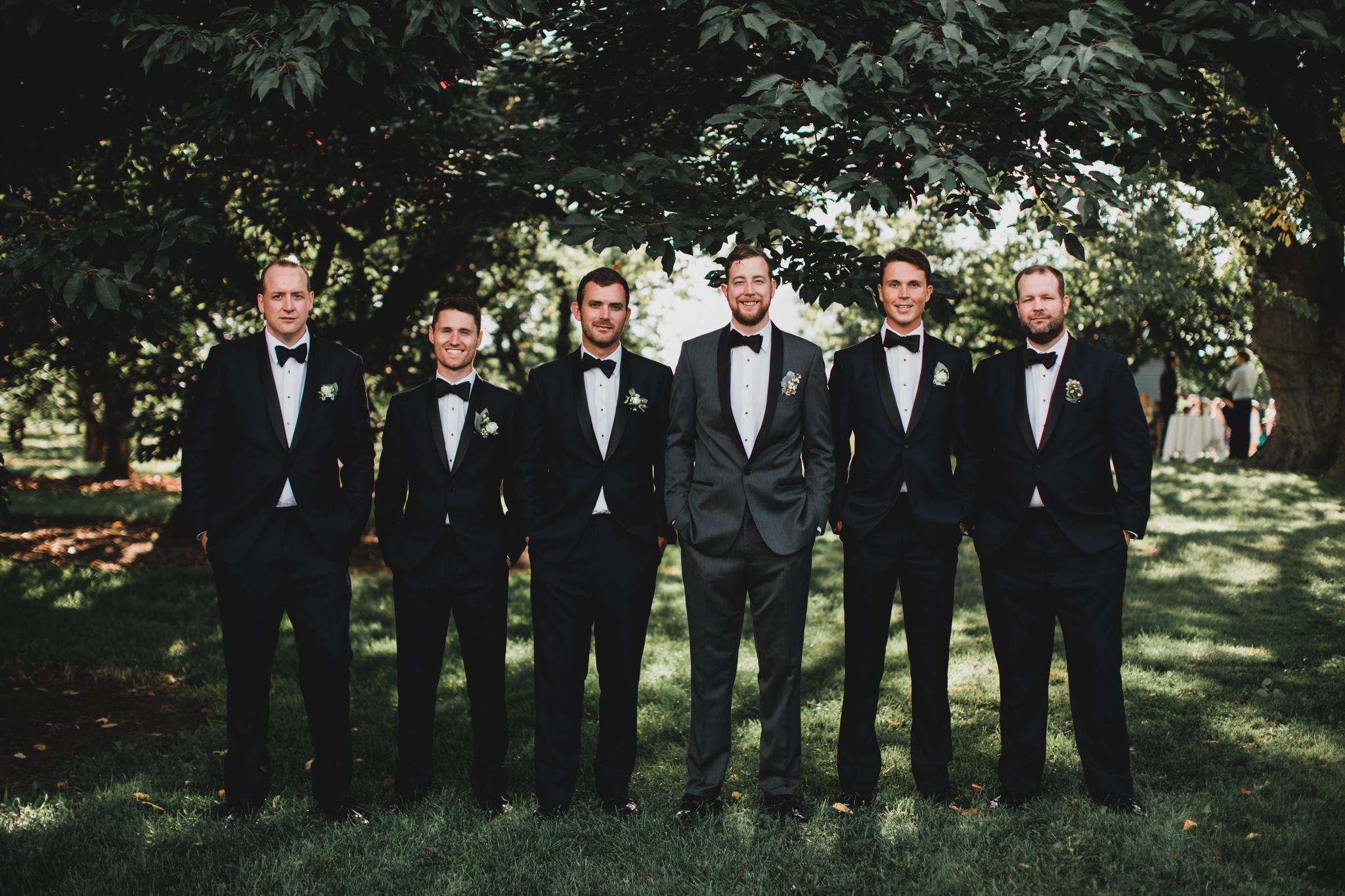 Groomsmen outfits, black tuxedos