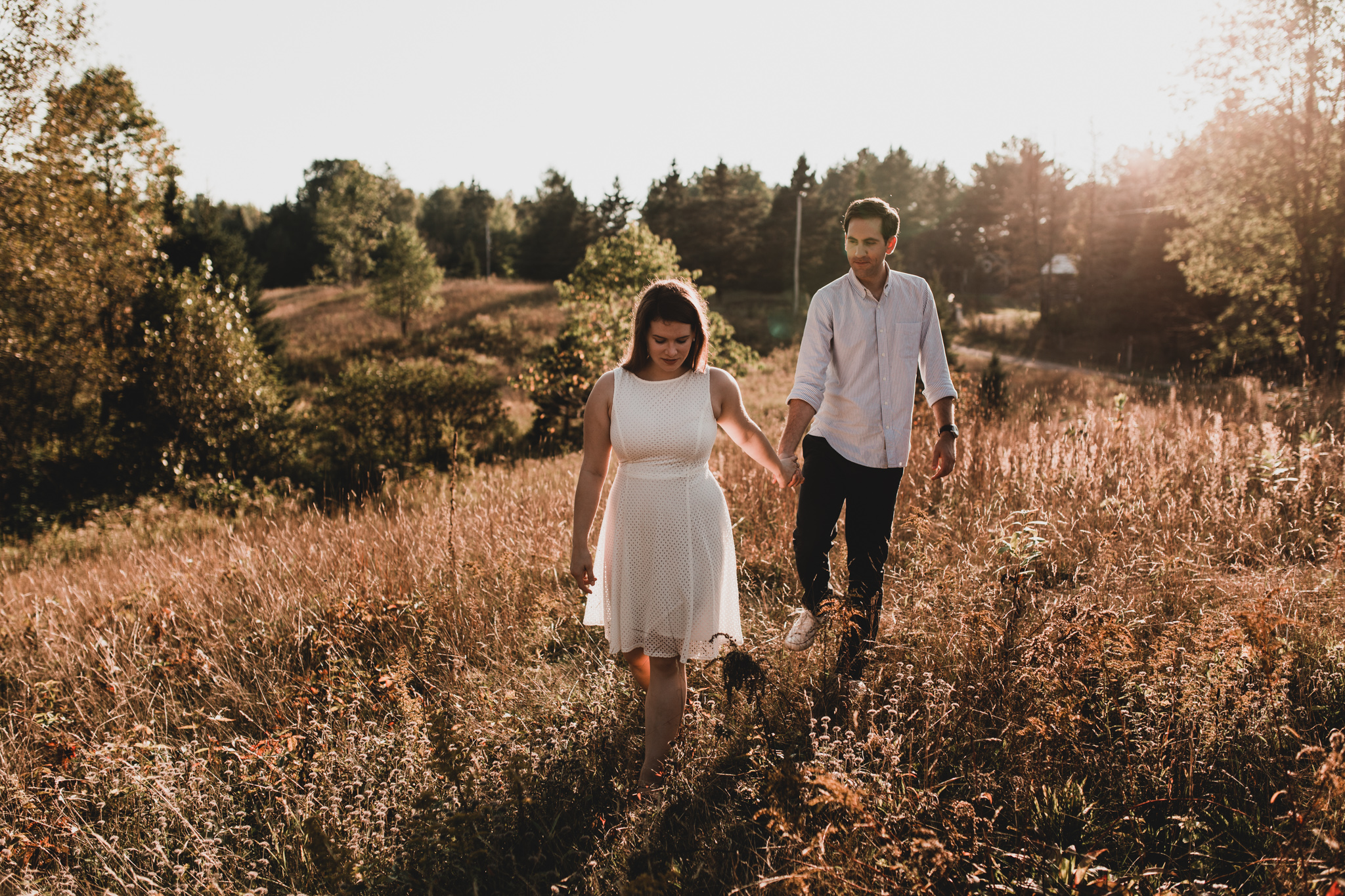 Dreamy Canadian Engagement Session, Cottage, Fields, Golden Hour
