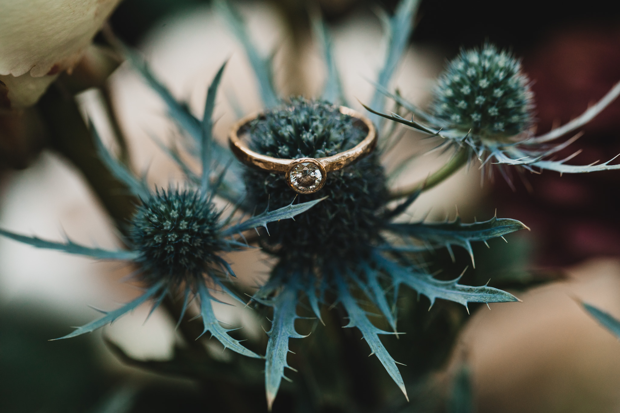 Hammered Gold Engagement Ring