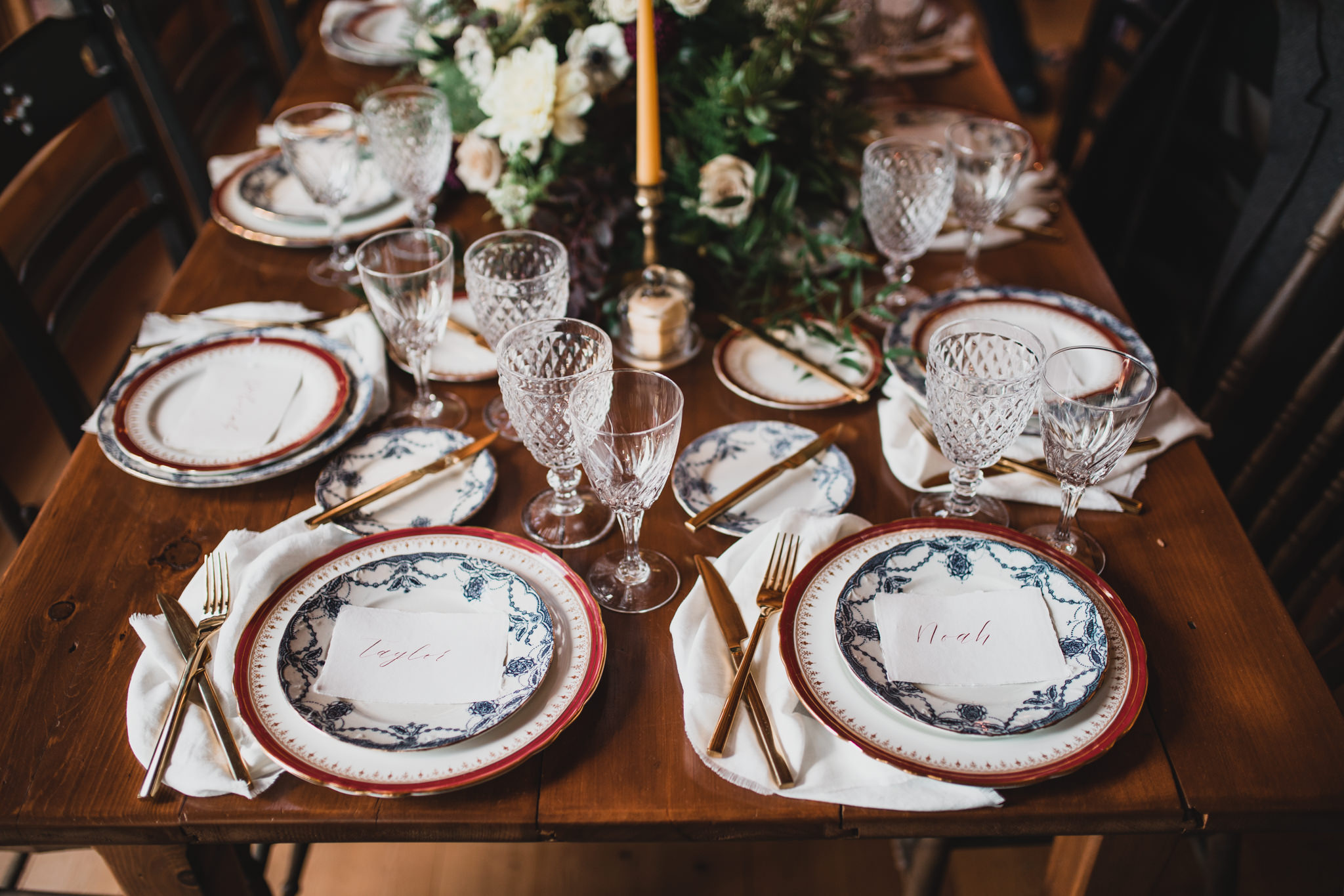 Intimate Dinner Table, wedding, calligraphy