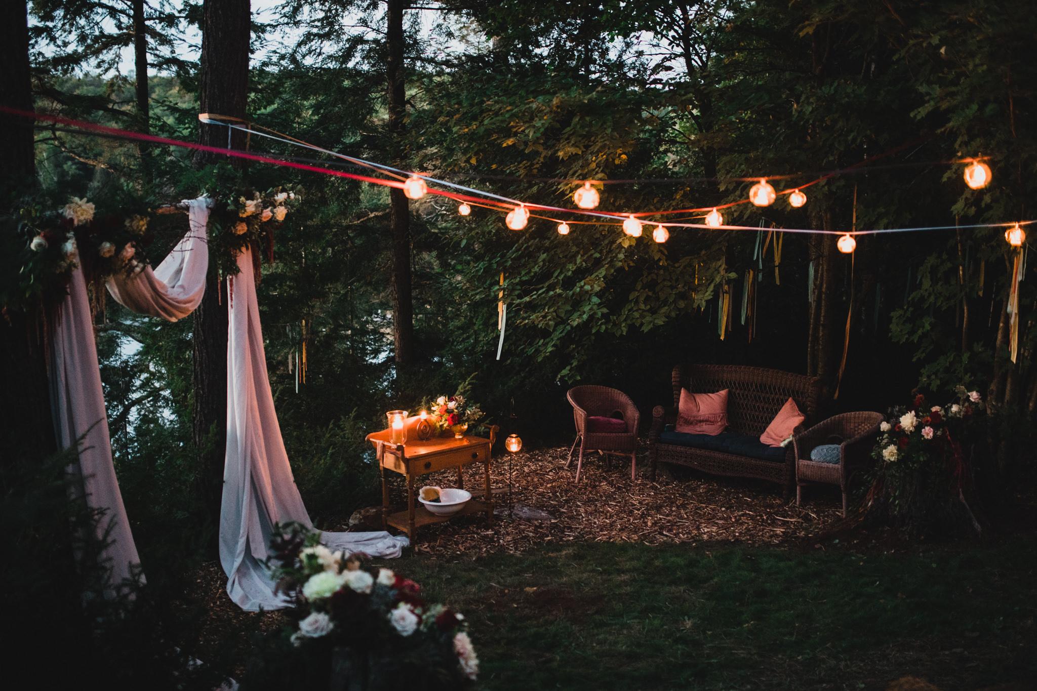 Candlelight, sunset wedding ceremony