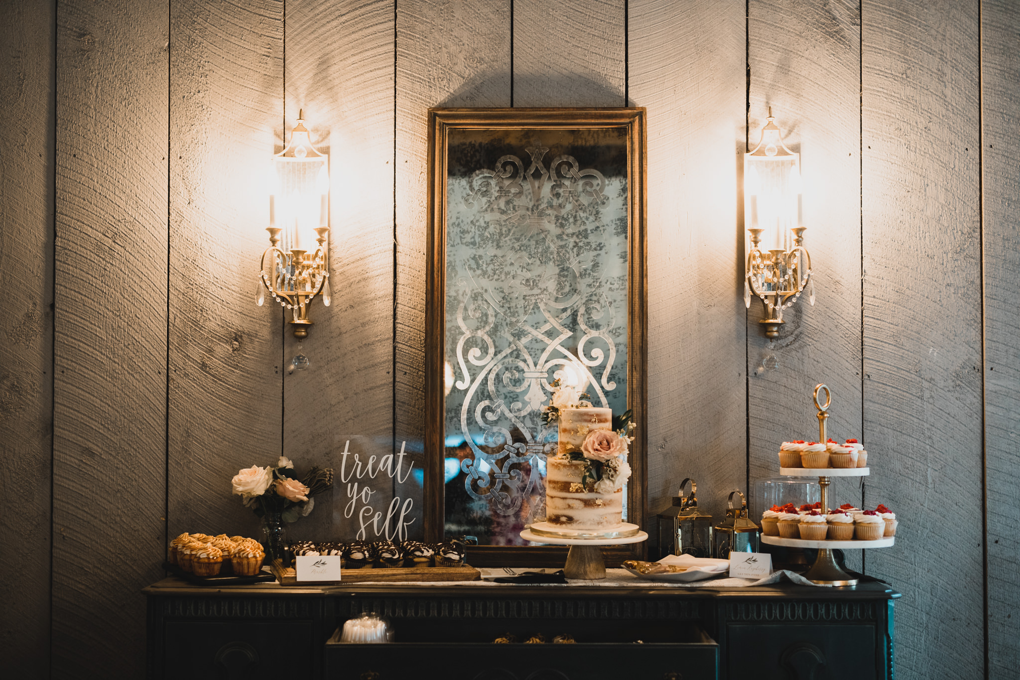 Dessert Table with Cake & Cupcakes