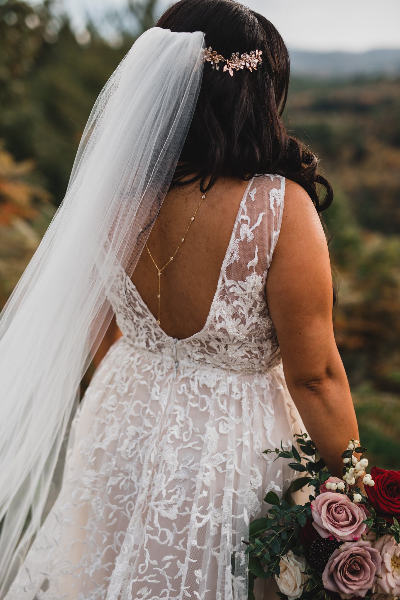 Wedding Dress with Back Chain jewellry