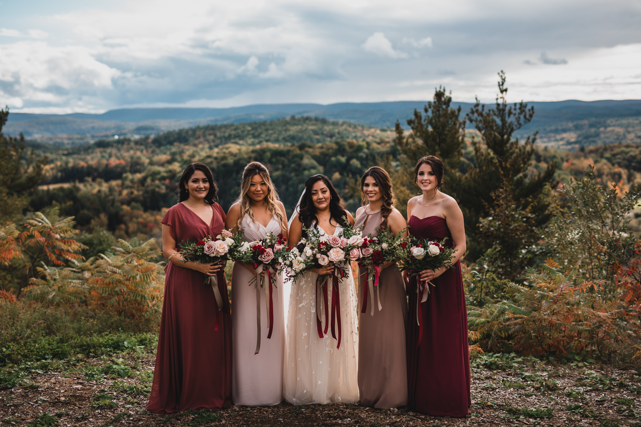 Mixed blush, burgundy, mauve bridesmaid dresses