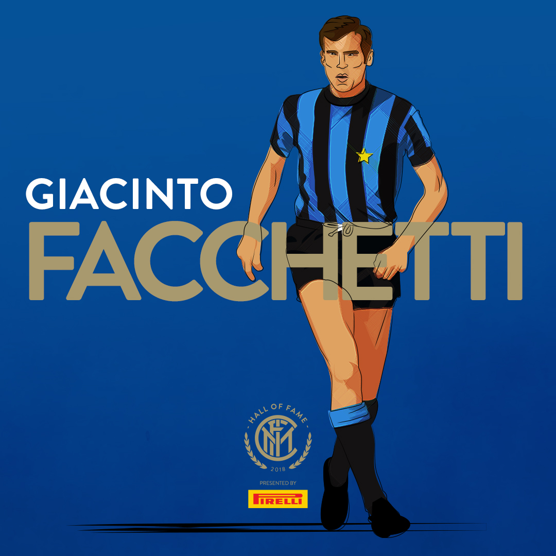 """GIANCINTO FACCHETTI    Giacinto Facchetti  (Italian pronunciation: [dʒaˈtʃinto fakˈketti] ; 18 July 1942 – 4 September 2006) was an Italian  footballer  who played as a  defender . From January 2004 until his death, he was chairman of  Internazionale , the Italian club for which he played for his entire club career during the 1960s and 1970s. He played 634 official games for the club, scoring 75 goals, and was a member of the Inter team which is often referred to as """" Grande Inter """", under manager  Helenio Herrera , with which he won four  Serie A  titles, a  Coppa Italia , two  European Cups , and two  Intercontinental Cups ."""