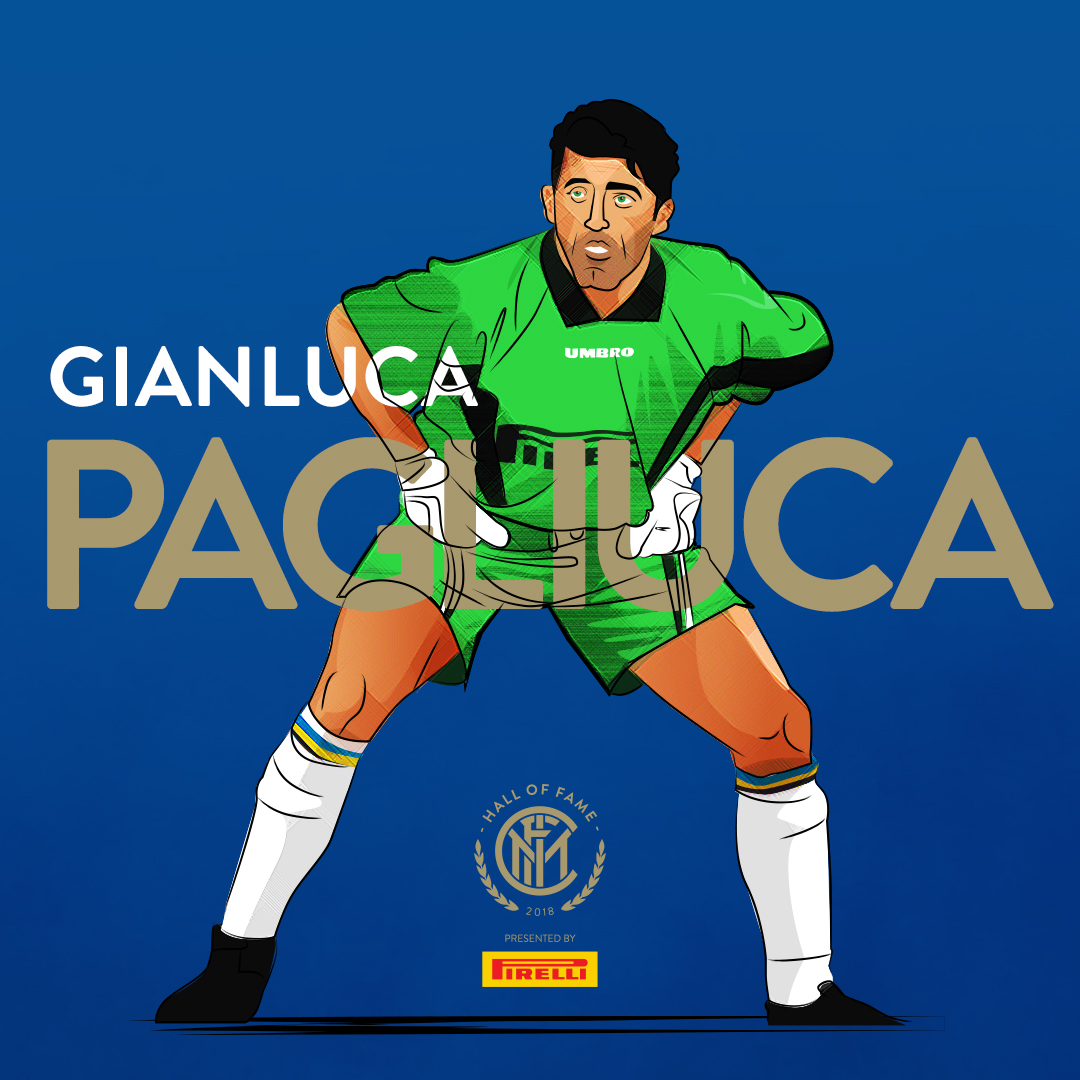 GIANLUCA PAGLIUCA   He is regarded by pundits as one of the greatest goalkeepers of his generation, and one of Italy's best keepers ever.  Throughout his career, he played for  Sampdoria ,  Inter , Bologna, and  Ascoli  in Italy, winning several domestic and international trophies.  At international level, he represented Italy at three FIFA World Cups (1990, 1994, and  1998 ), most notably reaching the  1994 World Cup final  as Italy's starting goalkeeper.  He is the  fifth highest capped player  (592 caps), and the  best penalty-stopper  (24 saves) in  Serie A ,